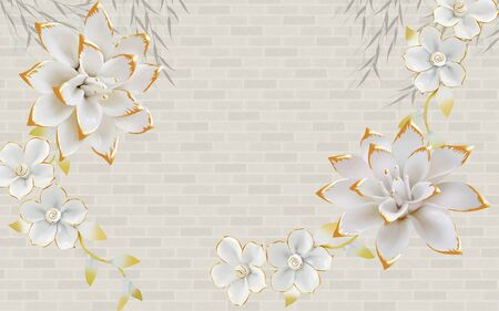 3d illustration, gray brick background, white gilded fabulous flowers