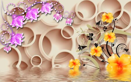 3d illustration, beige background, beige rings, large pink and yellow fabulous flowers, reflected in water