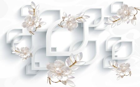 3d illustration, white background, pearl gilded branches with flowers and leaves