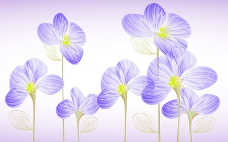Light purple background, fabulous blue flowers with leaves