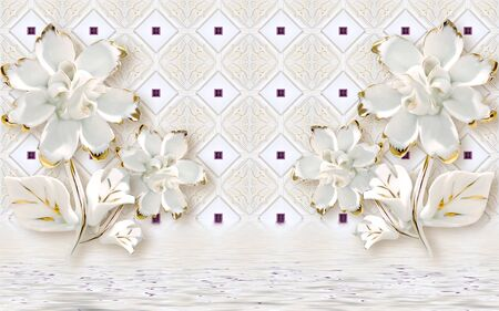 3d illustration, beautiful light background, white gilded fabulous flowers, reflected in water Stock Photo