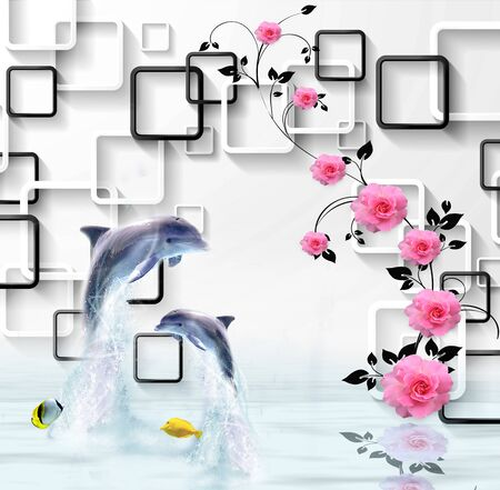 3d illustration, white background, white and black rectangular frames, pink roses on a black branch, two dolphins, two yellow fish, reflected in the water Stock Photo