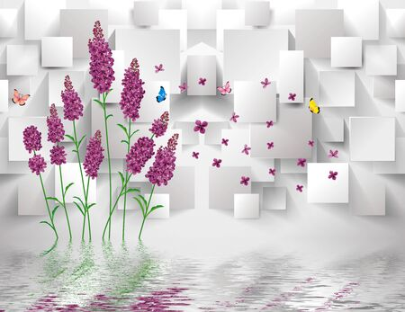 3d illustration, gray background, purple lavender flowers, rectangles, flying colorful butterflies, reflected in the water Stock Photo