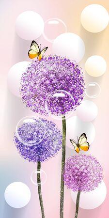 3d illustration, pastel background, three multi-colored dandelion, white balls, soap bubbles, two beige butterflies
