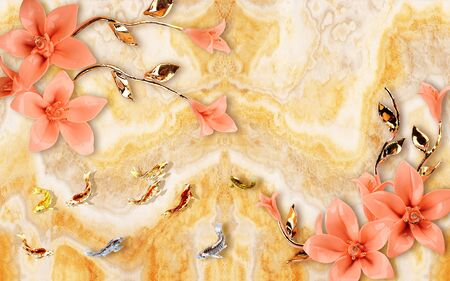 Marble background, gold and silver fish, pink gilded flowers