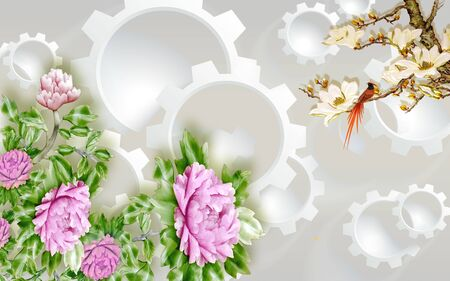 3d illustration, light background, gears, purple peonies, a branch with white gilded flowers and a colorful bird Stok Fotoğraf