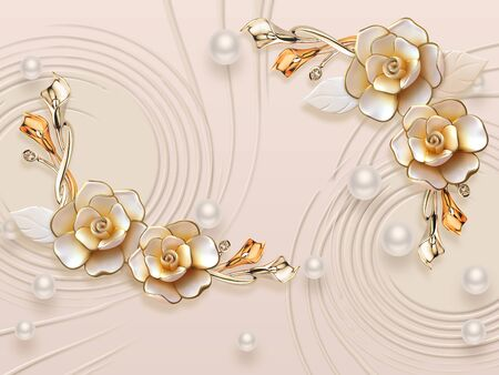 3d illustration, beige background, white pearls of different sizes, large gilded flowers Stok Fotoğraf
