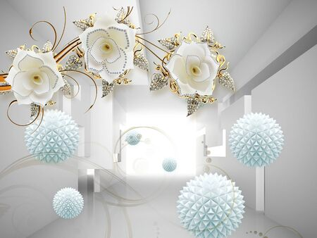 3d illustration, gray background, white fabulous flowers on gilded stems, blue paper origami balls