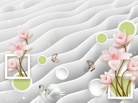 3d illustration, gray wavy background, pink flowers on gilded stems, green and white circles inside white rings, white rectangular frames, two white swans, two brown butterflies