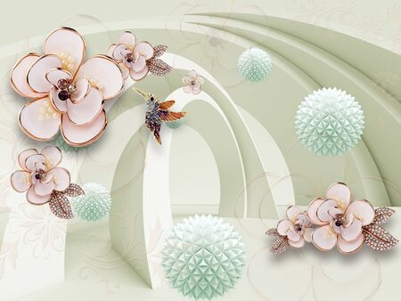 3D illustration, light background, arches, pink gilded fabulous flowers, hummingbirds, blue origami paper balls Stok Fotoğraf