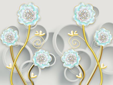 3d illustration, gray background, gray rings, blue flowers with pearls on gilded stems Stok Fotoğraf