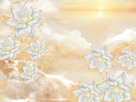 3d illustration, beige marble background, sunrise, silvery fairy flowers