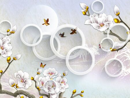 3d illustration, light background, white gilded flowers, white rings, flying birds