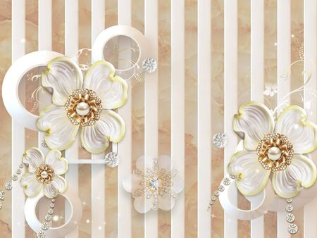 3d illustration, marble background, white vertical stripes, white rings, white gilded flower buds