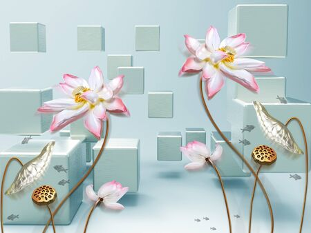 3d illustration, green and blue background, cubes, large pink flowers on gilded stems Stok Fotoğraf
