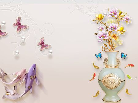 3d illustration, beige background, white gilded vase with pink and yellow flowers, colored fish, pink and blue butterflies