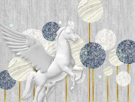 3d illustration, gray background, fabulous monochrome dandelions on gilded stems, gray pegasus in the foreground