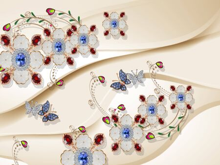 3d illustration, beige background, ornamental flowers with blue and red crystals, butterflies with wings covered small crystals