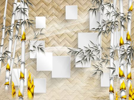 3d illustration, beige background with angular texture, white rectangles, monochrome bamboo with bright yellow flowers Stock Photo