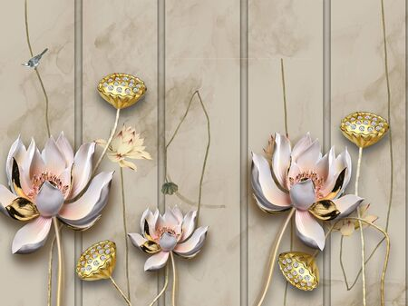 3d illustration, dark background, smoke, vertical stripes, bird, large pink and gold fabulous flowers on gilded stems