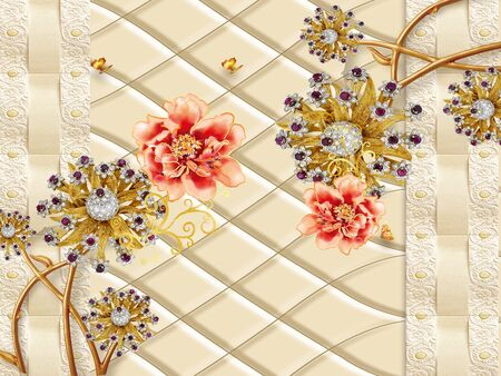 3d illustration, beige background, red and gilded fabulous flowers on golden stems