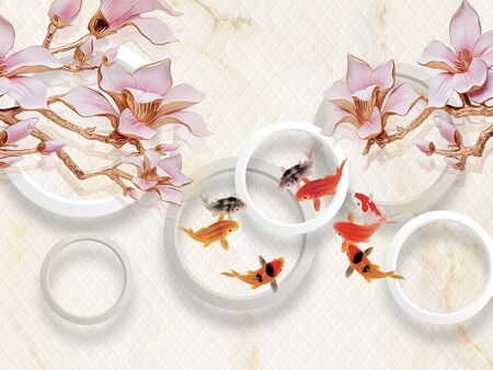 3d illustration, light background, white rings, large pink lilies on gilded branches, colorful fish Stok Fotoğraf