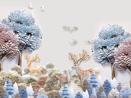 3d illustration, gray background, colored deciduous and coniferous trees, white birds, two deer with a calf
