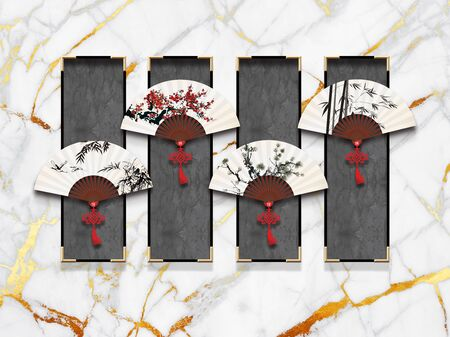 3d illustration, gray marble background, gray rectangles in black gilded frames, white oriental fans
