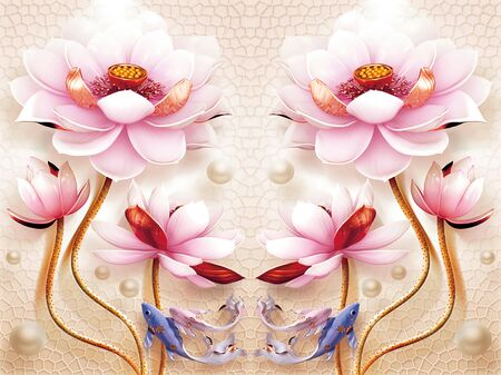 3d illustration, beige background, mirrored large pink fabulous flowers, blue and pink fish, pearls