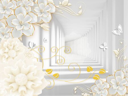 3D illustration, light and shade, corridor, gray columns, white gilded ornamental flowers and large beige flowers, white paper butterflies