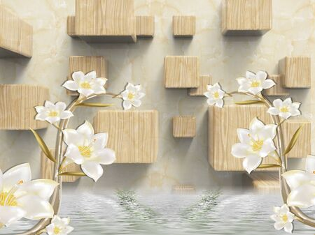 3d illustration, beige marble background, wooden cubes, two branches of lilies with white flowers, reflected in water Stock Photo