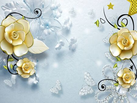 3d illustration, light blue background, blue butterflies, large beige gilded ornamental flowers Stok Fotoğraf
