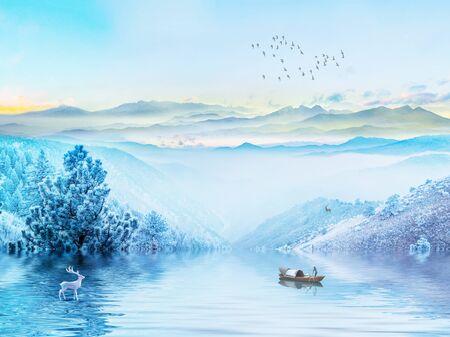 Landscape illustration, lake, fog, fisherman on a boat, deer, forest, hills, sunrise, a flock of birds flies into the distance