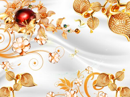 White silk background, bright golden ornamental plants with crystals on the leaves and gilded pearl flowers