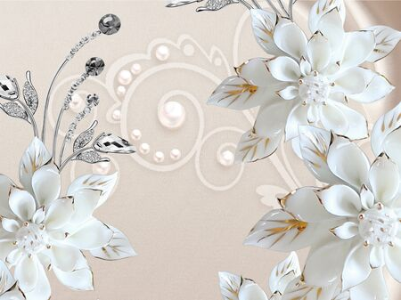 3d illustration, beige fabric background, pearls, large white gilded flowers