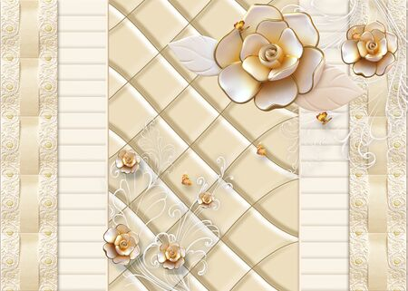 3d illustration, beige background, tile and monograms, large and small beige gilded roses and golden butterflies
