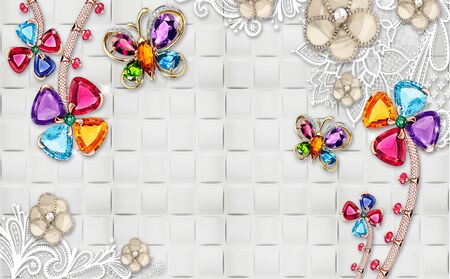 3d illustration, gray tile background, bright golden butterflies and flowers with large multi-colored crystals, beige flowers on white lace stalks