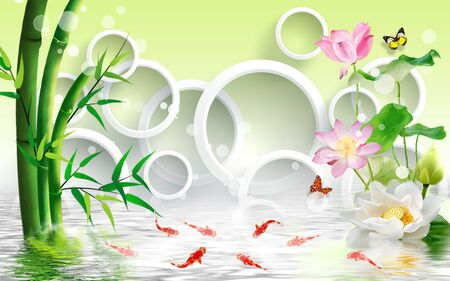 3d illustration, green background, bamboo, white rings, white and pink water lilies, red fish, reflected in water