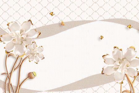 3D illustration, light background, upholstery, two striped ribbons, large white gilded flowers on golden stems, four golden butterflies