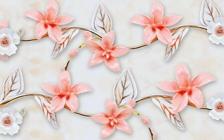 3d illustration, light background, white and pink ceramic flowers on a gilded branch with white leaves Stok Fotoğraf