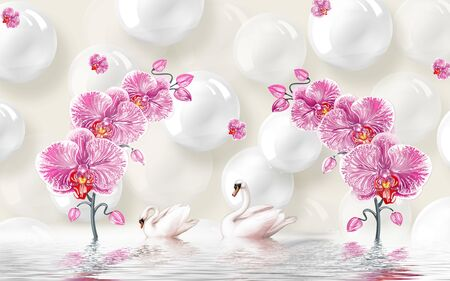 3d illustration, light background, shiny white balls, pink orchids, a pair of swans, reflected in water