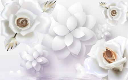 3d illustration, large white roses and paper flowers, reflected in water