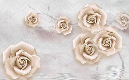 3d illustration, light background, large beige rosebuds, reflection in water Archivio Fotografico