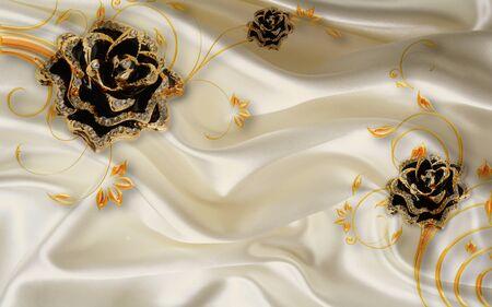 3d illustration, beige fabric background, black gilded flowers with ornamental stems Stok Fotoğraf
