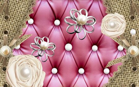 3d illustration, red upholstery, wicker curtains, pearls, silvery abstract flowers and beige fabric roses