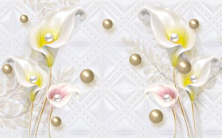3d illustration, white tiled background, white-yellow and white-pink calla flowers, pearls