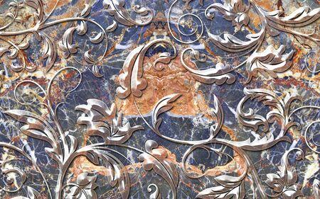 3d illustration, colorful marble background, translucent ornament