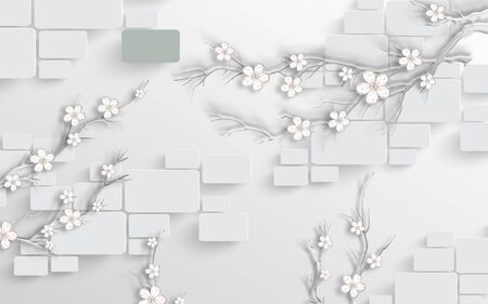 3d illustration, white background, rounded rectangles, abstract white flowers on branches