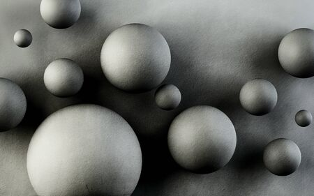 3d illustration, gray textured background with big and small balls