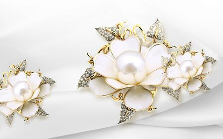 3d illustration, white fabric background, large white pearl gilded flowers